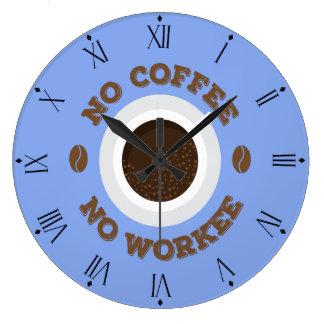 Roligt inget kaffe som ingen arbetskökvägg tar tid stor rund klocka