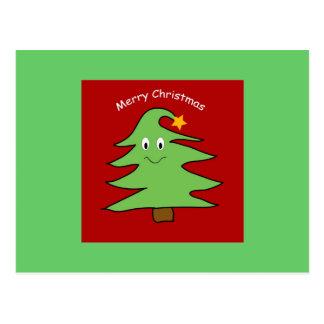 Roligt julgrankort vykort