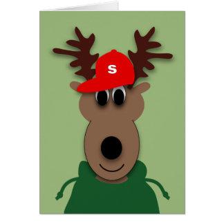 Roligt julrenkort hälsningskort