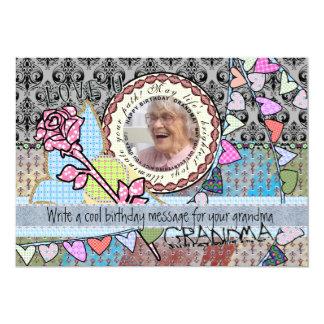 Roligt kort för födelsedagmallfoto - mormor 12,7 x 17,8 cm inbjudningskort