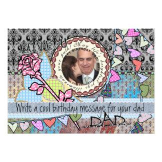 Roligt kort för födelsedagmallfoto - pappa anpassade tillkännagivande