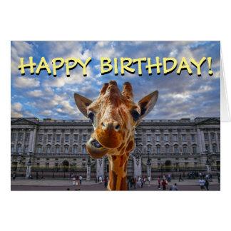 Roligt kort för giraffBuckingham Palace födelsedag