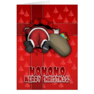 Roligt kort för god jul - Santa stupad insida A