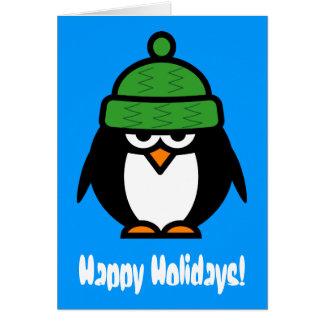 Roligt kort för hälsning för pingvintecknadjul