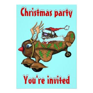 Roligt kort för inbjudan för Santa pilot- julparty