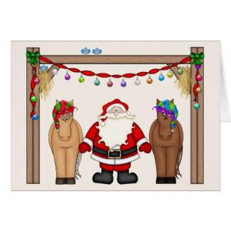 Roligt kort för Santa och hästjulhälsning