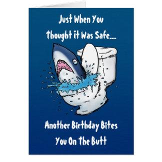 Roligt kort för toaletthajfödelsedag