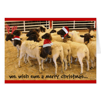 Roligt kort, Wishtackagod jul, lyckligt Gnuår! Hälsningskort