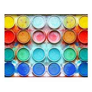 Roligt målar färg boxas vykort