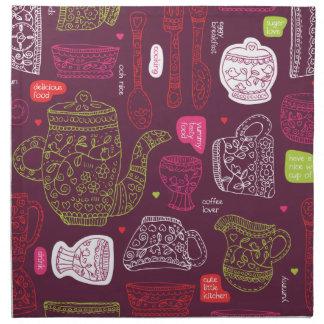 Roligt mönster för konst för tea för kök för tygservett