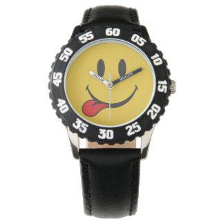 Roligt och gulligt klibba ut tungan Emoji Armbandsur