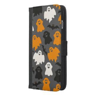 Roligt och spöklikt Halloween spökemönster på grå iPhone 6/6s Plus Plånboksfodral