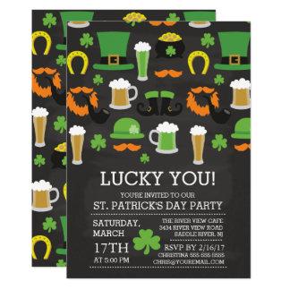 Roligt party för svart tavlast patrick's daymiddag 12,7 x 17,8 cm inbjudningskort