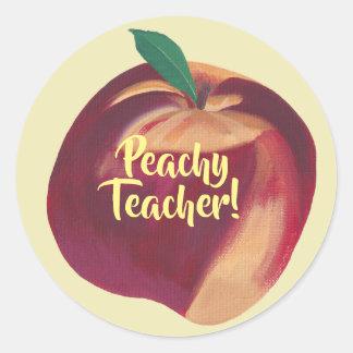 Roligt - Peachy lärare - persikaklistermärkear Runt Klistermärke
