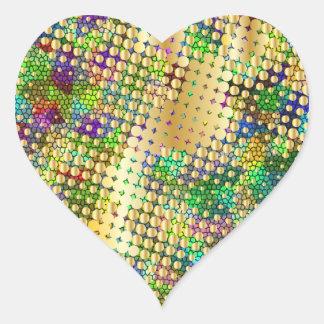 Roligt Psychedelic med en Splatter av guld pricker Hjärtformat Klistermärke