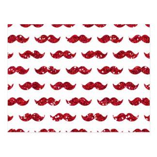 Roligt rött utskrivavet glittermustaschmönster vykort