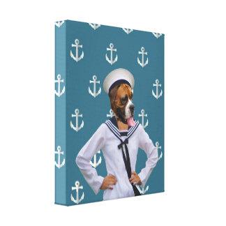 Roligt sjömanhundtecken canvastryck