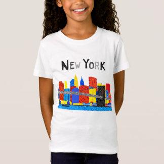 Roligt skämtsam illustration av Manhattan horisont Tee Shirts