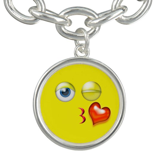 Roligt slag en kyssEmoji Smiley Berlockarmband