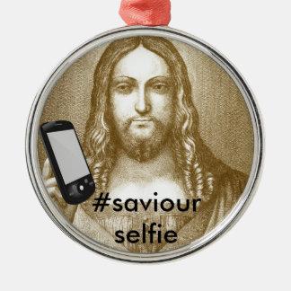 Roligt spara sig Yourself parodifrälsaren Selfie Rund Silverfärgad Julgransprydnad
