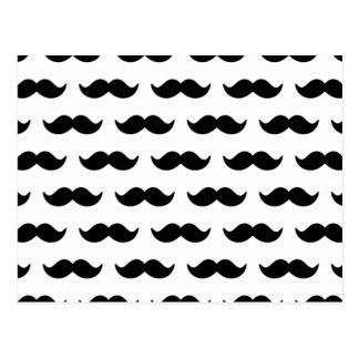 Roligt svartvitt mustaschmönster 1 vykort