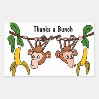 Roligt tack för apor AV en gruppklistermärke Rektangulärt Klistermärke