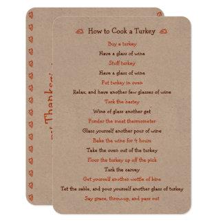 Roligt thanksgivingkort hur man grillar det 8,9 x 12,7 cm inbjudningskort