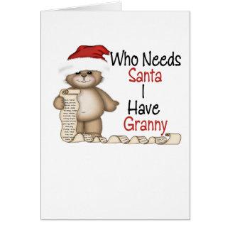 Roligt vem behöver den Santa grannyen Hälsningskort