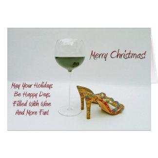 Roligt vin och skor julhälsningkortet! hälsningskort