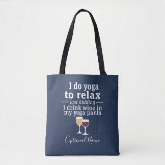 Roligt vincitationstecken - jag dricker vin i tygkasse