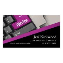 Romanförfattare för reporter för författarejournal visitkort mallar