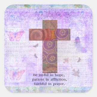 Romans12:12 - var glatt i hopp, tålmodig BIBEL Fyrkantigt Klistermärke