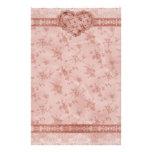 romansk rosa blommigt för vår och snörehjärta brevpapper