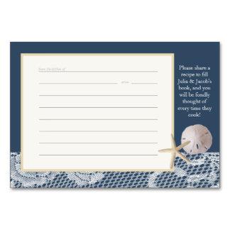 Romanskt marinblått receptkort för strand bordsnummer