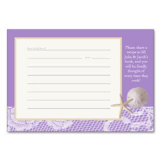 Romanskt purpurfärgat receptkort för strand bordsnummer