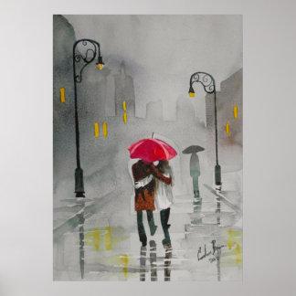 Romantiker för paraply för regnig daghöst kopplar poster