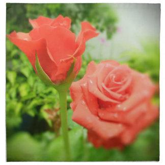 Romantiker steg blommor tygservett