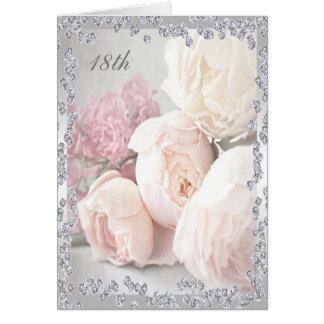 Romantisk 18th födelsedag för ro & för diamanter hälsningskort
