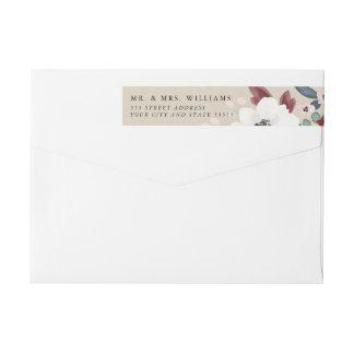 Romantisk blom- inbjudanreturadressetikett etikettband