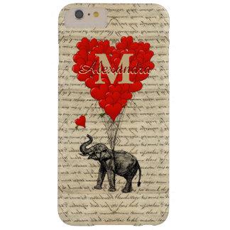 Romantisk elefant- och kärlekhjärtamonogram barely there iPhone 6 plus fodral