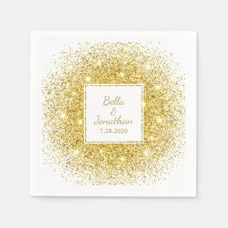 Romantisk elegant bröllopanpassningsbar för guld- servett