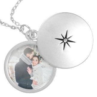 Romantisk gåva | ditt personliga foto silverpläterat halsband