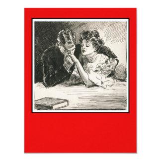Romantisk Gibson flicka- och friareinbjudan 10,8 X 14 Cm Inbjudningskort