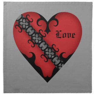 Romantisk gotisk medeltida röd hjärta tygservett