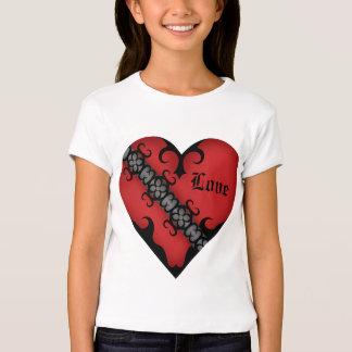 Romantisk gotisk medeltida röd hjärtaför barn tee shirts