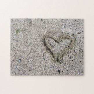 Romantisk hjärta i Sandfotoutmaning Pussel