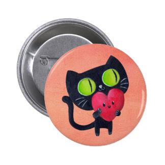 Romantisk katt som kramar röd gullig hjärta standard knapp rund 5.7 cm