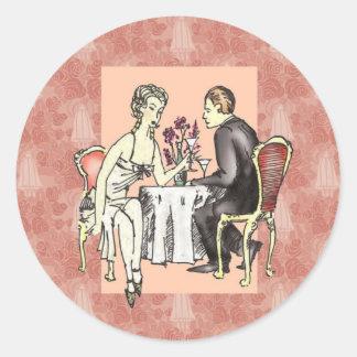 Romantisk middag runt klistermärke
