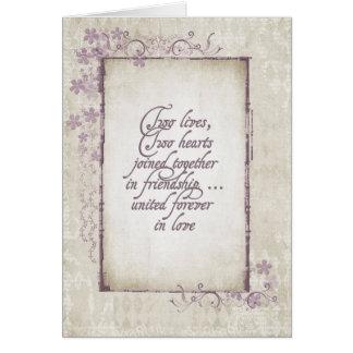 Romantisk ram för bröllopvintage hälsningskort