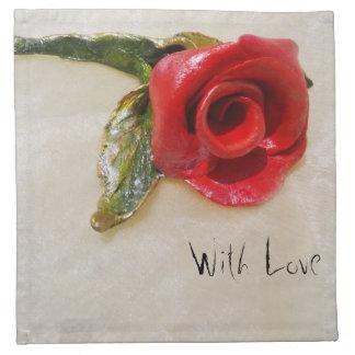 romantisk röd rosservett tygservett
